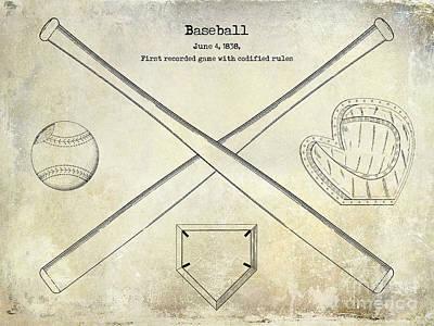 1838 Baseball Drawing  Poster by Jon Neidert