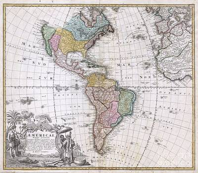 1846 Homann Heirs Map Of North America And South America  Poster by Paul Fearn