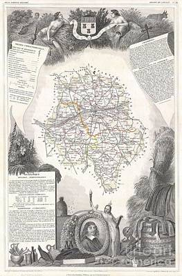 1847 Levasseur Map Of The Dept Dindre Et Loire France Poster by Paul Fearn