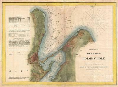 1847 Us Coast Survey Map Of Holmes Hole Vineyard Haven Marthas Vineyard Massachusetts Poster by Paul Fearn