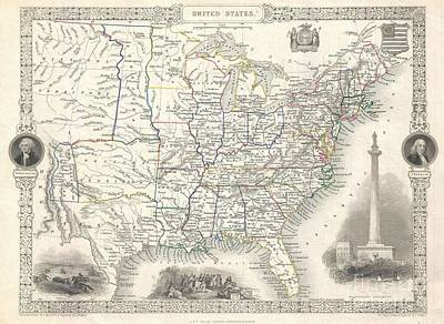 1851 Tallis And Rapkin Map Of The United States Poster by Paul Fearn