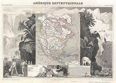 1852 Levasseur Map Of North America  Poster by Paul Fearn