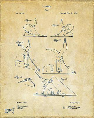 1865 John Deere Plow Patent Vintage Poster by Nikki Marie Smith