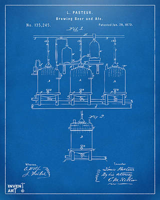 1873 Brewing Beer And Ale Patent Artwork - Blueprint Poster by Nikki Marie Smith