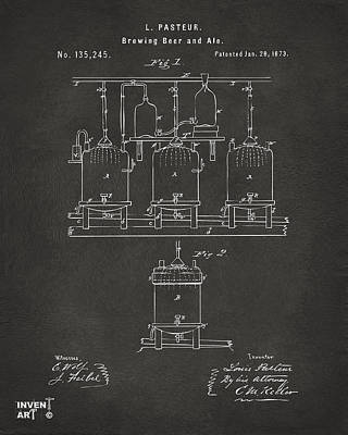1873 Brewing Beer And Ale Patent Artwork - Gray Poster by Nikki Marie Smith