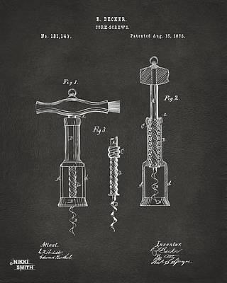 1876 Wine Corkscrews Patent Artwork - Gray Poster by Nikki Marie Smith