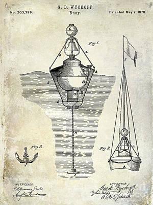 1878 Buoy Patent Drawing Poster by Jon Neidert