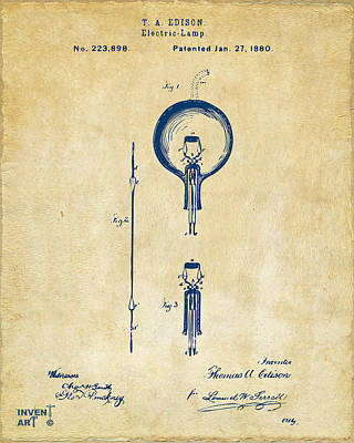 1880 Edison Electric Lamp Patent Artwork Vintage Poster by Nikki Marie Smith