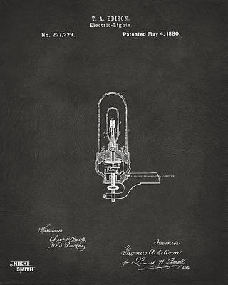 1880 Edison Electric Lights Patent Artwork - Gray Poster by Nikki Marie Smith