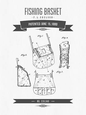 1880 Fishing Basket Patent Drawing Poster by Aged Pixel