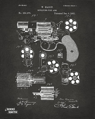 1881 Colt Revolving Fire Arm Patent Artwork - Gray Poster by Nikki Marie Smith