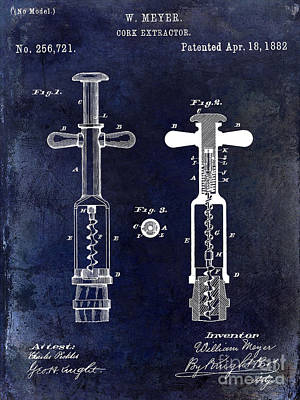 1882 Corkscrew Patent Drawing Poster by Jon Neidert