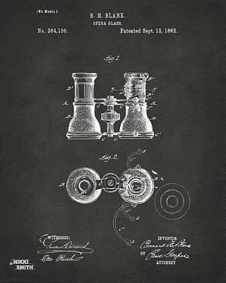 1882 Opera Glass Patent Artwork - Gray Poster by Nikki Marie Smith