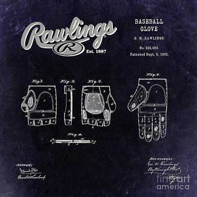 1885 Baseball Glove Patent Art Rawlings 3 Poster by Nishanth Gopinathan