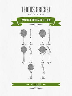 1886 Tennis Racket Patent Drawing - Retro Green Poster by Aged Pixel