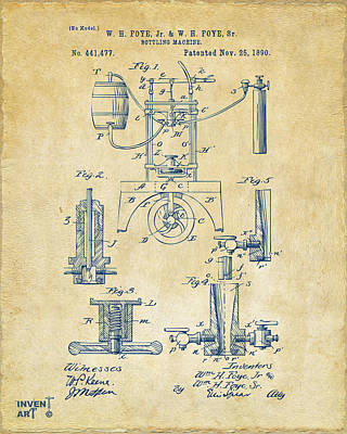 1890 Bottling Machine Patent Artwork Vintage Poster by Nikki Marie Smith
