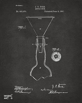 1891 Bottle Neck Patent Artwork Gray Poster by Nikki Marie Smith