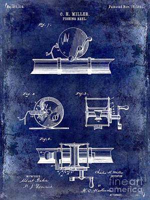1891 Fishing Reel Patent Drawing Blue Poster by Jon Neidert