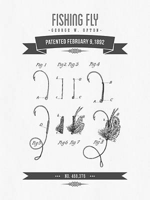 1892 Fishing Fly Patent Drawing Poster by Aged Pixel
