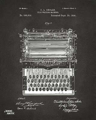 1896 Type Writing Machine Patent Artwork - Gray Poster by Nikki Marie Smith