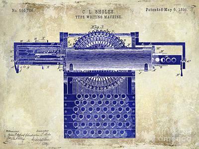 1896 Type Writing Machine Patent Drawing Two Tone Poster by Jon Neidert