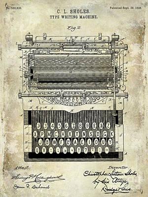 1896 Type Writing Machine Patent Poster by Jon Neidert