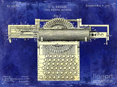 1896 Type Writing Machine Patent Two Tone Poster by Jon Neidert
