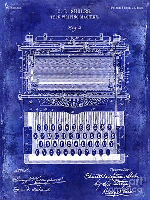 1896 Typewriting Machine Patent Blue Poster by Jon Neidert