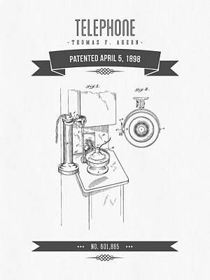 1898 Telephone Patent Drawing - Retro Gray Poster by Aged Pixel