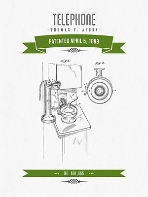 1898 Telephone Patent Drawing - Retro Green Poster by Aged Pixel