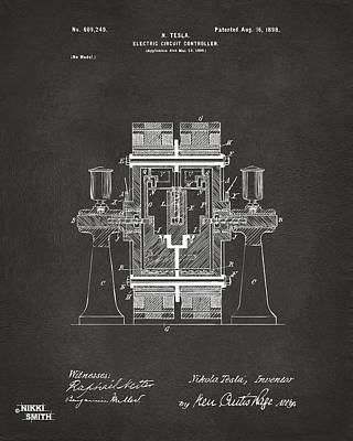 1898 Tesla Electric Circuit Patent Artwork - Gray Poster by Nikki Marie Smith