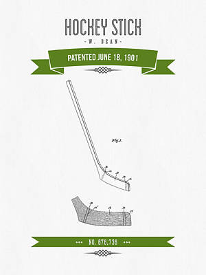 1901 Hockey Stick Patent Drawing - Retro Green Poster by Aged Pixel