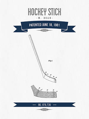 1901 Hockey Stick Patent Drawing - Retro Navy Blue Poster by Aged Pixel