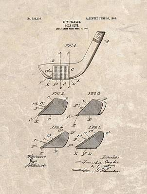 1903 Golf Club Patent Poster by Dan Sproul