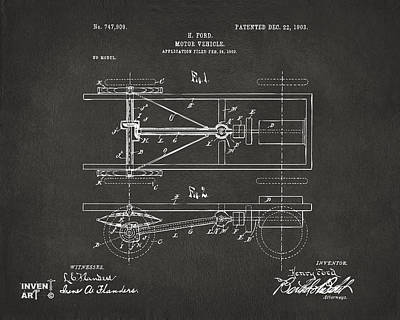 1903 Henry Ford Model T Patent Gray Poster by Nikki Marie Smith