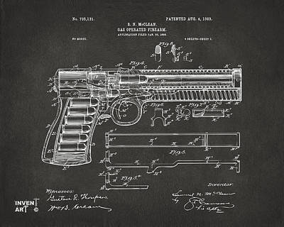 1903 Mcclean Pistol Patent Artwork - Gray Poster by Nikki Marie Smith
