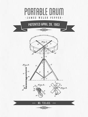 1903 Portable Drum Patent Drawing Poster by Aged Pixel