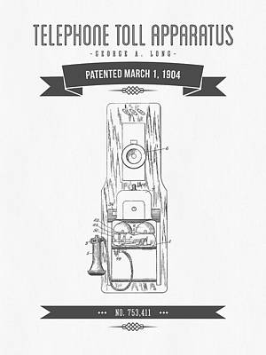 1904 Telephone Toll Apparatus Patent Drawing - Retro Gray Poster by Aged Pixel