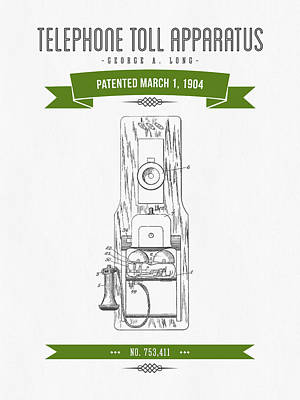 1904 Telephone Toll Apparatus Patent Drawing - Retro Green Poster by Aged Pixel