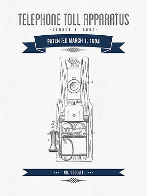 1904 Telephone Toll Apparatus Patent Drawing - Retro Navy Blue Poster by Aged Pixel