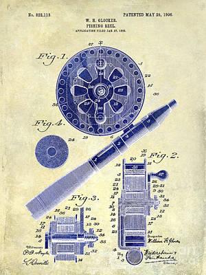 1906 Fishing Reel Patent Drawing 2 Tone Poster by Jon Neidert