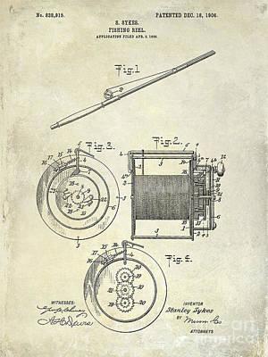 1906 Fishing Reel Patent Poster by Jon Neidert