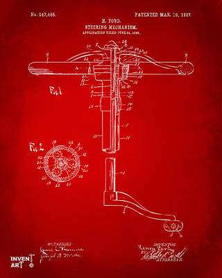 1907 Henry Ford Steering Wheel Patent Red Poster by Nikki Marie Smith
