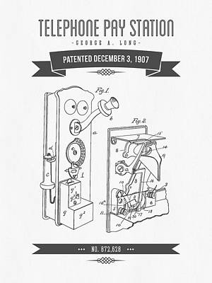 1907 Telephone Pay Station Patent Drawing - Retro Gray Poster by Aged Pixel