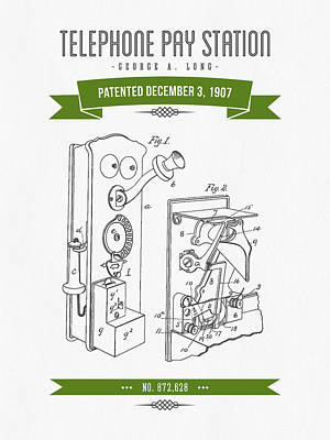 1907 Telephone Pay Station Patent Drawing - Retro Green Poster by Aged Pixel