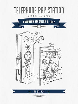 1907 Telephone Pay Station Patent Drawing - Retro Navy Blue Poster by Aged Pixel