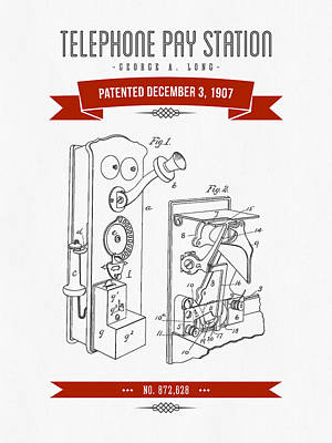 1907 Telephone Pay Station Patent Drawing - Retro Red Poster by Aged Pixel