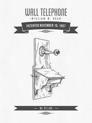 1907 Wall Telephone Apparatus Patent Drawing - Retro Gray Poster by Aged Pixel