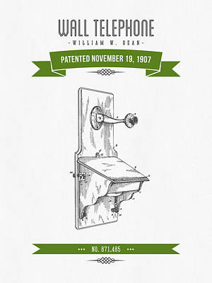 1907 Wall Telephone Apparatus Patent Drawing - Retro Green Poster by Aged Pixel