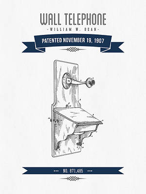 1907 Wall Telephone Apparatus Patent Drawing - Retro Navy Blue Poster by Aged Pixel